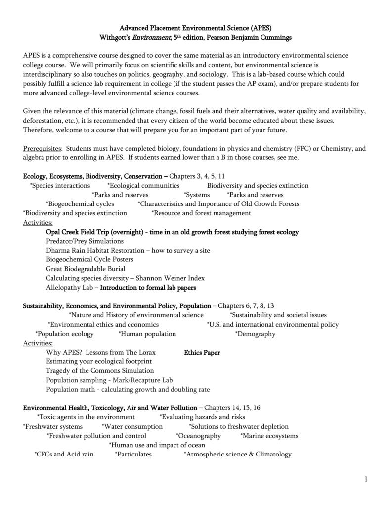 File - AP Environmental Science @ Madison HS