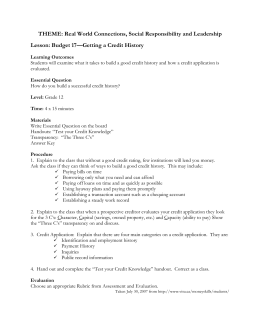 Budget 17 - Getting a Credit History