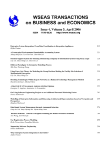 WSEAS TRANSACTIONS on BUSINESS and ECONOMICS, April