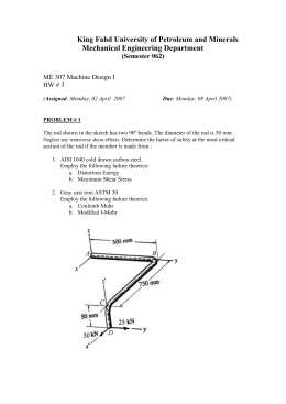 The rod shown in the sketch is made of AISI 1040 steel and has two