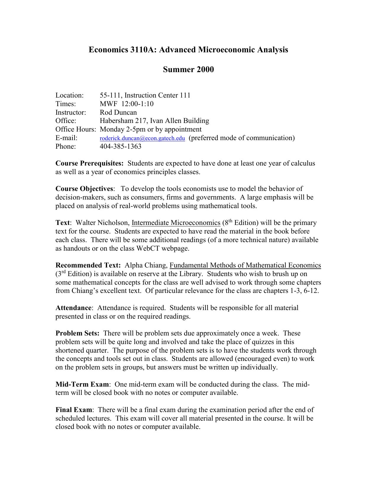 Economics 3110: Advanced Microeconomics
