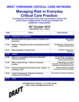 DRAFT Agenda - West Yorkshire Critical Care Network