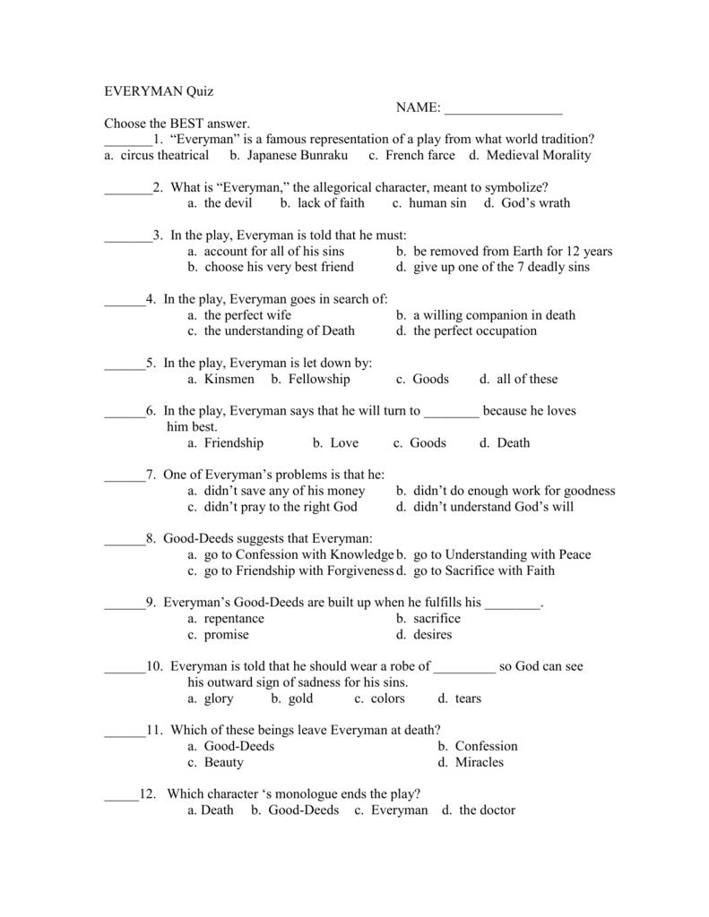 EVERYMAN Quiz