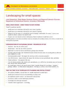 Handout – Landscaping for small spaces