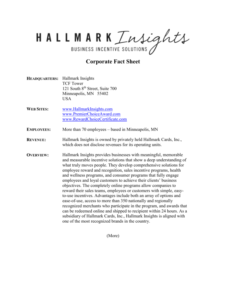 Corporate Fact Sheet - Hallmark Business Connections