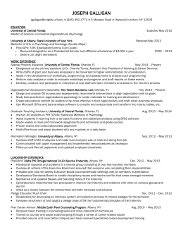 Joe Galligan Resume