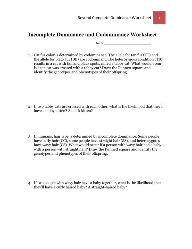 Worksheet Incomplete Dominance and – Incomplete Dominance and Codominance Worksheet