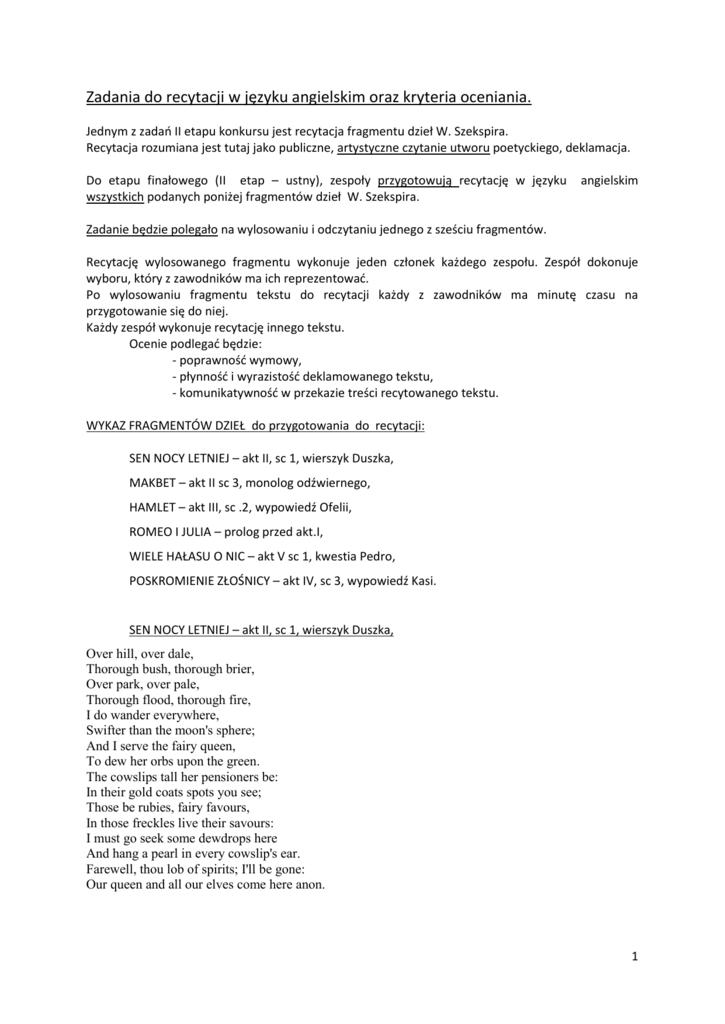 Zadania Do Recytacji W Języku Angielskim Oraz Kryteria Oceniania