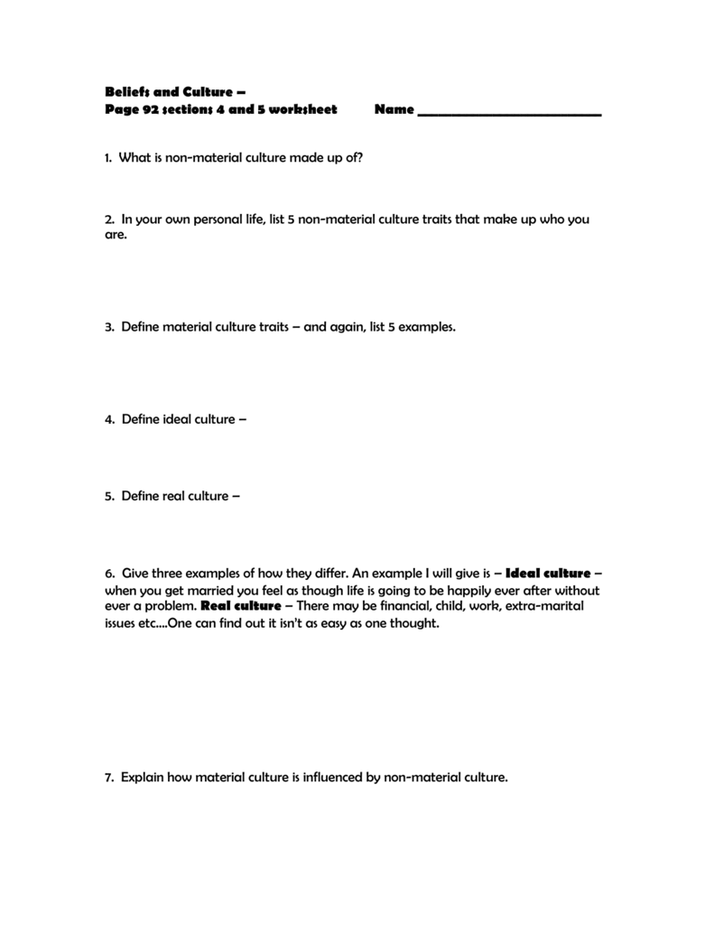 chapter 2 beliefs and culture worksheet p 92