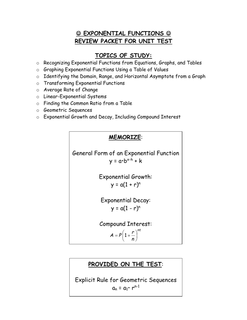exponential functions - review packet for unit test