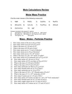 Molar M Practice Worksheet