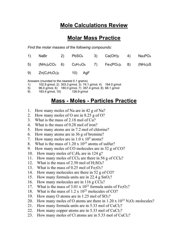 worksheet Mole Practice Worksheet molar mass practice worksheet