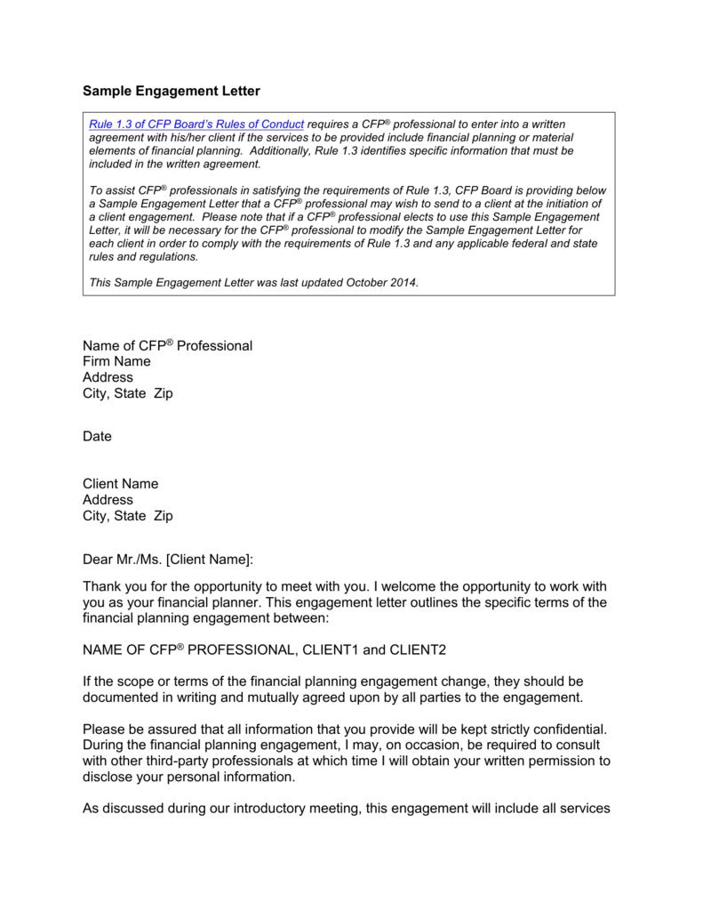 Sample financial planning engagement letter spiritdancerdesigns Choice Image