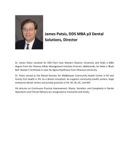 James Patsis, DDS MBA p3 Dental Solutions, Director Dr. James