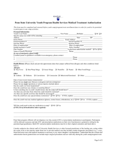 Sample Medical Information and Waiver Form (Penn State)