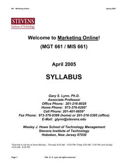 Syllabus - Stevens Institute of Technology