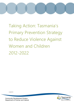 Taking Action: Tasmania's Primary Prevention Strategy to Reduce