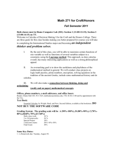 Syllabus: Math 267 Honors / Croft - Croft Institute for International