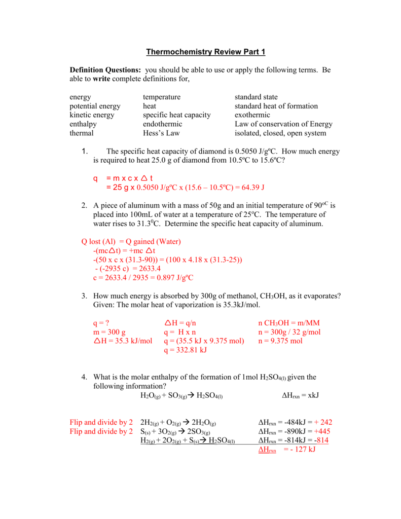 Thermochemistry Review Answers1