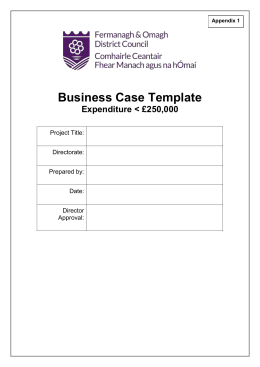 Business Case Template Expenditure < £250,000 Project Title