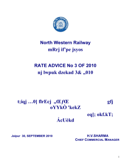 North Western Railway mRrj if'pe jsyos RATE ADVICE No 3 OF