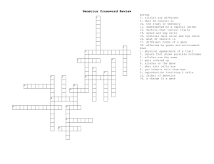 Genetics Crossword Review 2012