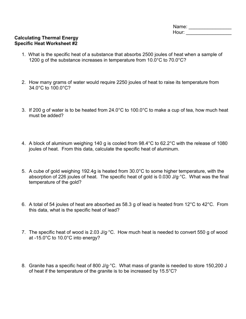 worksheet Thermal Energy Worksheet specific heat worksheet 2