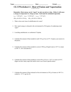 10: Heat of Fusion and Vaporization— Worksheet #2