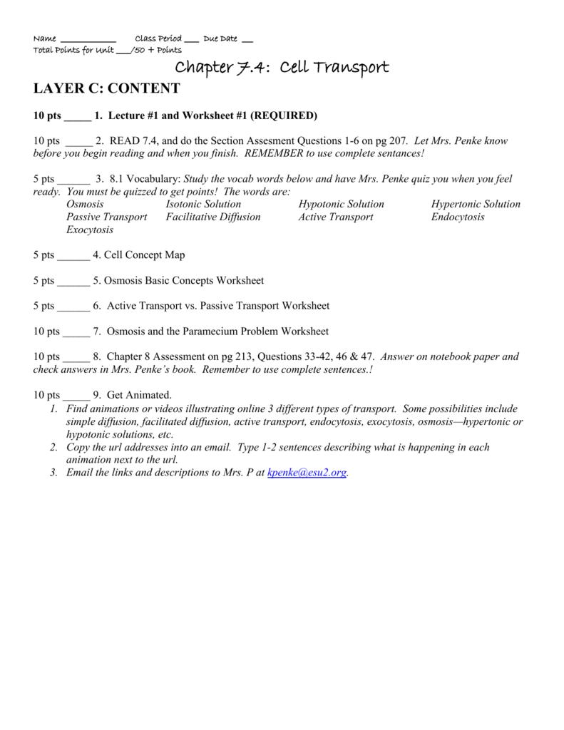 Ch 7 4 Cell Transport Assignment Sheet