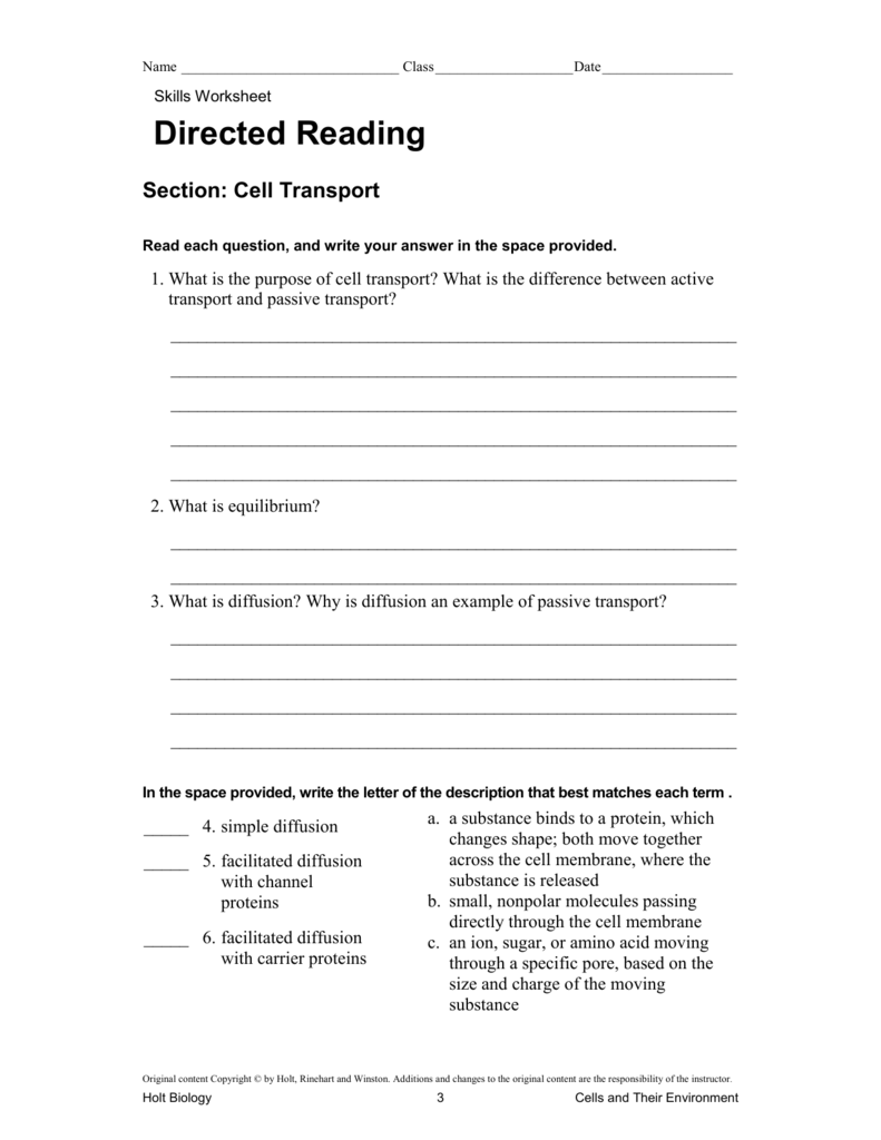 Skills Worksheet