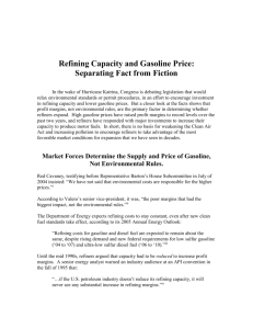 Refining Capacity and Gasoline Price