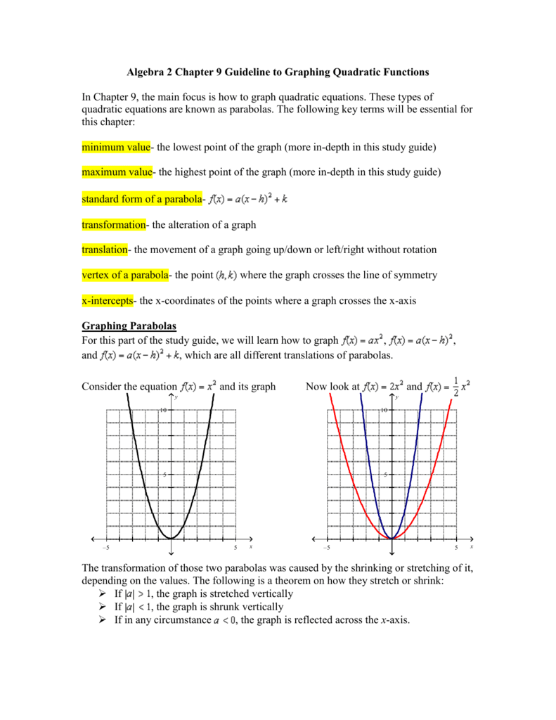 Algebra 2 Chapter 9 Guideline To Graphing Quadratic Functions In