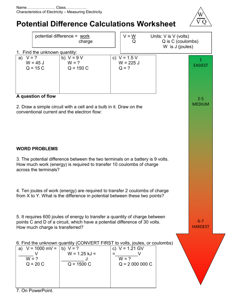 Potential Difference Calculations Worksheet - science