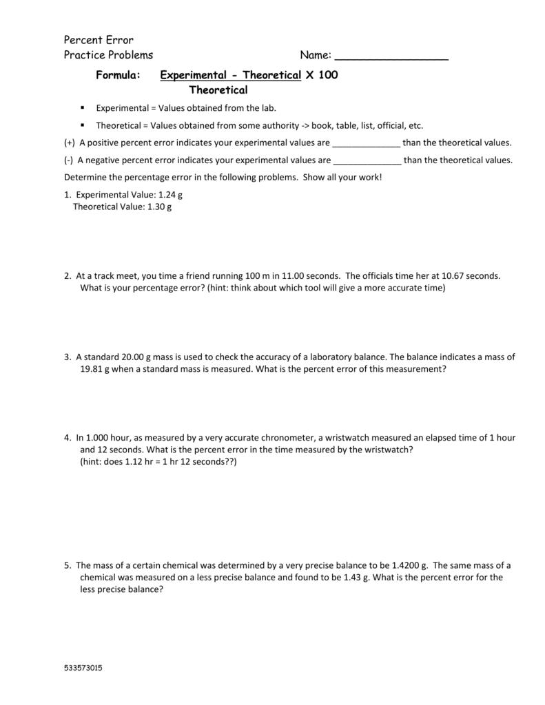 Worksheets Percent Error Worksheet percent error dr vernon