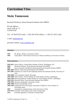110223 Tonnesson CV full - the Department of Peace and