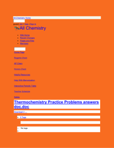 All Chemistry - Thermochemistry Practice Problems answers doc