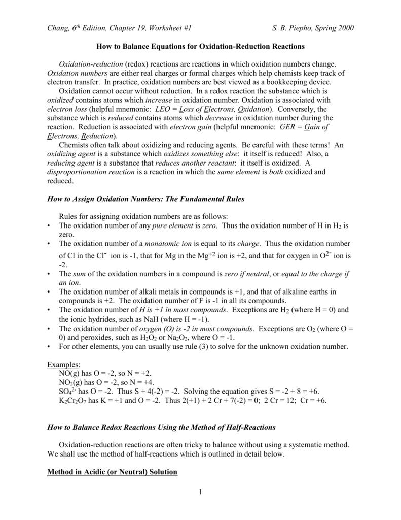 Workbooks redox worksheets : Redox Equations Worksheet - Jennarocca