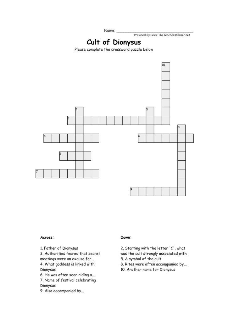 Crossword Cult Of Dionysus