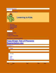 Listening to Kids - Yopp-Singer Test of Phoneme Segmentation