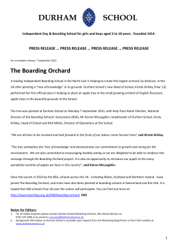 Press Release The Boarding Orchard