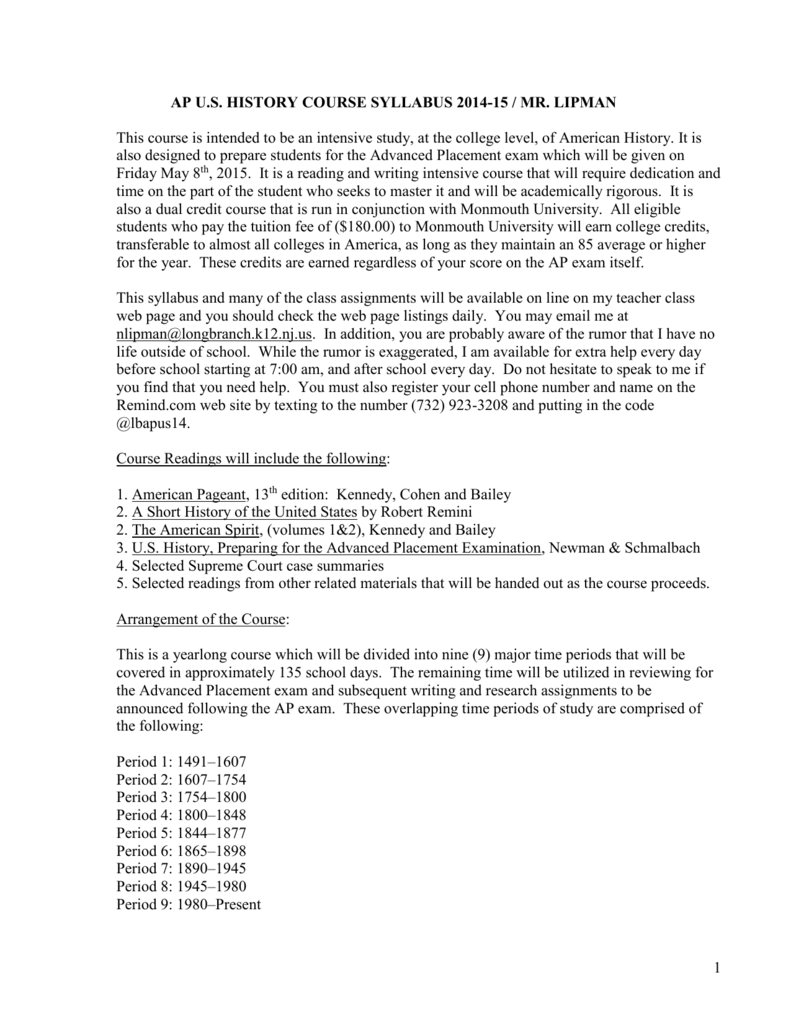 Apush Course Notes 13th Edition - Description Of The Note