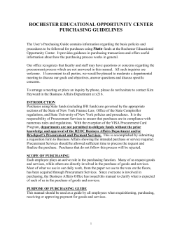 purpose of purchasing guide - Rochester Educational Opportunity