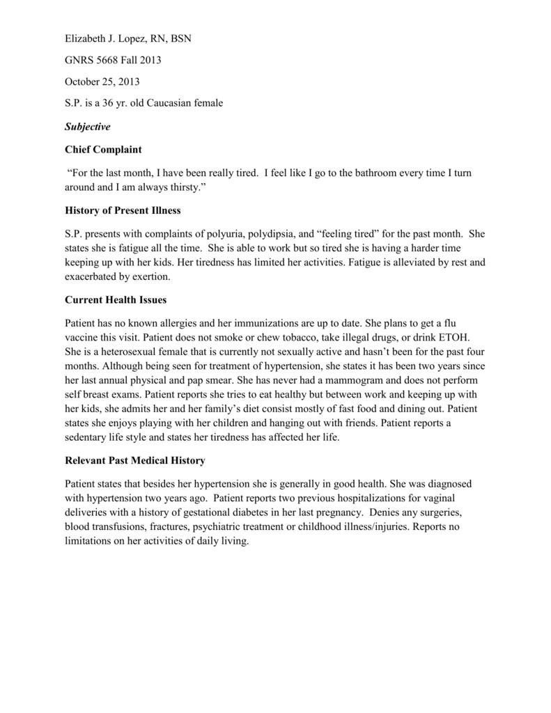 SOAP note - Elizabeth J  Lopez, RN, MSN