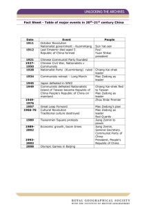 Fact Sheet - Table of major events in 20th