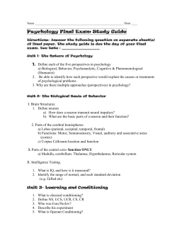 psychology unit 1 study guide