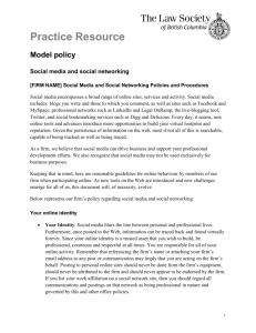 Practice Resource Social Media and Social Networking Model Policy