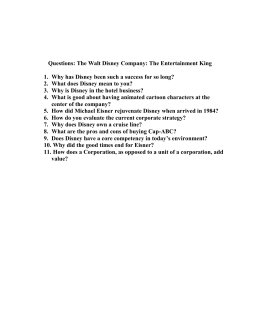 Questions: The Walt Disney Company: The Entertainment King