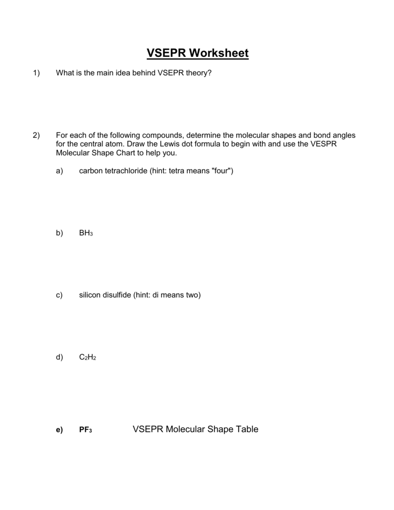 worksheet Vsepr Worksheet With Answers vsepr worksheet dreamspinner learning