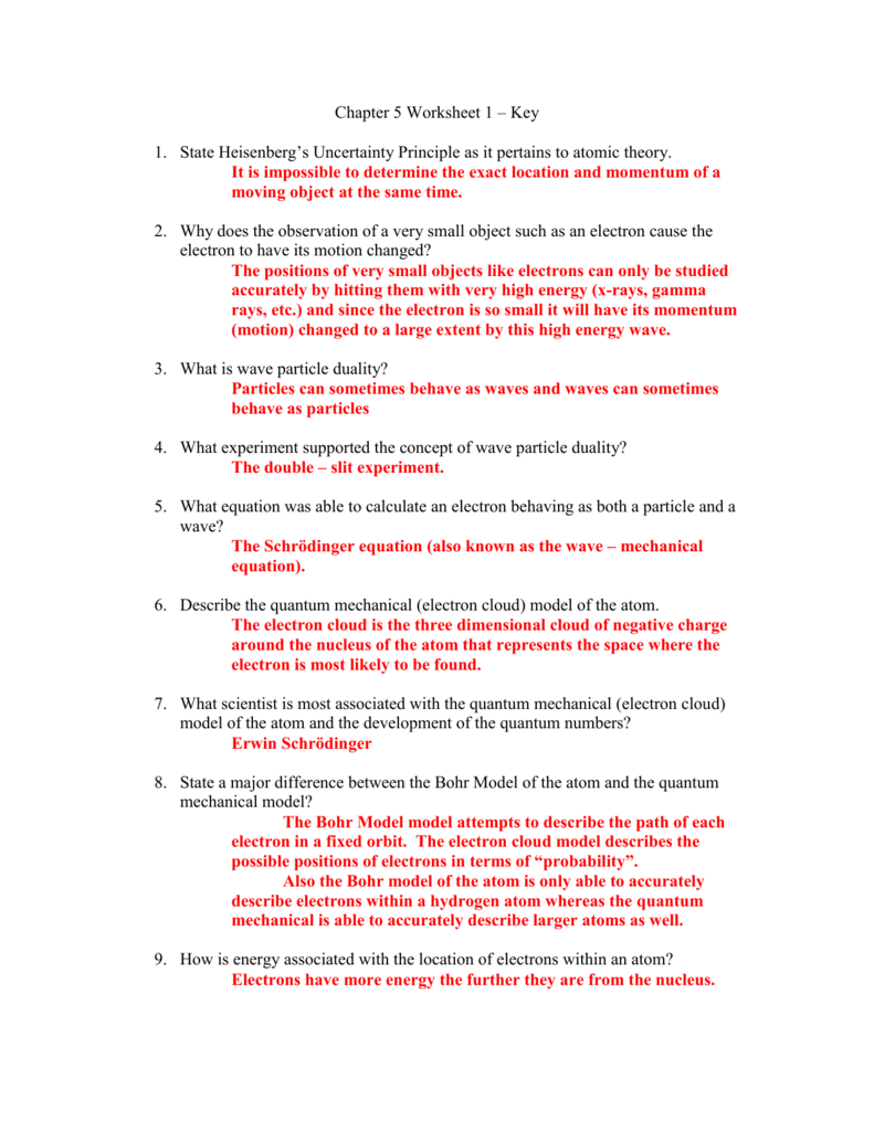 Chapter 5 Worksheet 1
