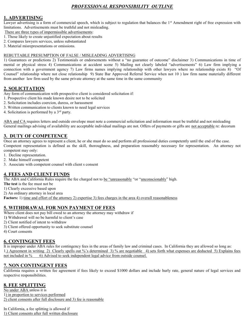 Professional Responsibility O7 Outline
